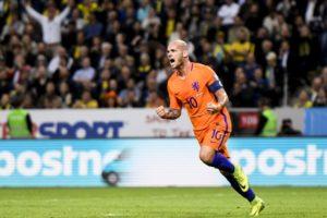 Wesley Sneijder maakt de 1-1 tegen Zweden