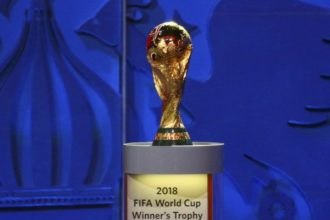 The World Cup Trophy is seen during the preliminary draw for the 2018 FIFA World Cup at Konstantin Palace in St. Petersburg